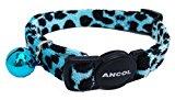 A Velvet Leopard Cat Collar, Choose Colour, (Blue)