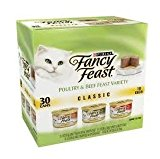 Purina Fancy Feast Pack of 30 Cans 3 oz Wet Cat Food, Classic Poultry/Tender Beef Feast Variety Pack, Finely Ground & Delightfully Smooth, Like Pate, Tender Liver, Chicken, Turkey Giblets/Tender Beef by Purina