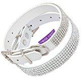 Posh Petz® Diamante Bling Crystal Rhinestone Luxury Dog Collar - White (M 11-14