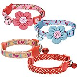 Blueberry Pet Pack of 1, Neck 23cm-33cm, Love Peace Rescue Theme Pattern Adjustable Breakaway Cat Collar in Adorable Pink with Bell