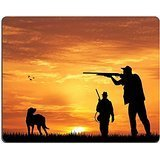Luxlady Gaming Mousepad IMAGE ID: 34144105 hunter with dog at sunset