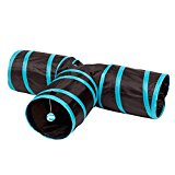 Alxcio Pet Cat Tunnel Toy ,3 Way with Peep Hole Fun Run To Keep Kitty Entertained Exercising and Playing Games Like Catnip For Small Animals Kittens Best Play House Condo To Help Stop Meowing and Scratching,Foldable Toys