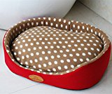 Weare Home Round Washable Dot Pattern Pet Beds for Dogs Warm House with a Removable Cushion Red XL