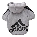 Zehui Pet Dog Cat Sweater Puppy T Shirt Warm Hoodies Coat Clothes Apparel Grey L