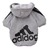 Zehui Pet Dog Cat Sweater Puppy T Shirt Warm Hoodies Coat Clothes Apparel Grey L