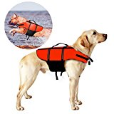 Poppypet Life Jackets for Dogs, Outward Hound Life Jacket, Dog Floatation Vest,Pet Reflective Saver Preserver Life Vest Orange XL
