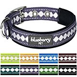Blueberry Pet Soft & Comfortable 3M Reflective Neoprene Padded Dog Collar in Purple Grey with Jacquard Pattern, Neck 33cm-42cm, Medium, Collars for Dogs, Matching Lead Available Separately