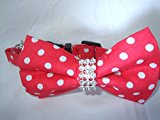 Cat Collar bow tie diamante break away polka dot pet snap open Bingpet (Red)