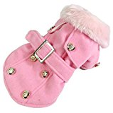 Dogloveit Dog Fashion Elegant Jacket Warm Coat with Woolen Collar Pets Dogs Cats Winter Clothes, Pink, Medium(The size is for small dog/cat and runs small,please measure your dog/cat carefully before order)