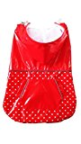 PUPTECK BA1064 Fashion Dots Pet Dog Raincoat with Hood and Pocket Red Large