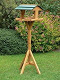 TRADITIONAL WOODEN BIRD TABLE. FEEDER HOUSE WITH ROOF. SOLID WOOD