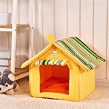 Weare Home House Shape Washable Foldable Pet Beds for Dogs Warm House with a Removable Cushion Yellow L