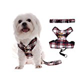 MING Pet Dog Harness Vest with Lead & Leash Scottish Kilt Grid Design (Color:Red;Size:M)