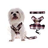 MING Pet Dog Harness Vest with Lead & Leash Scottish Kilt Grid Design (Color:Red;Size:M)
