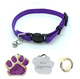 Cat Collar, With Bell, Quick Release With Free Engraved Glitter Paw ID Tag & P&P (Purple)