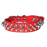 SODIAL(R) Leather Spiked Studded Dog Collar 1