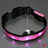 SODIAL(R) LED Flashing luminous Adjustable Safety Dog Pet Light Nylon Plain Collar Tag - Pink M