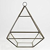 Zinc & Glass Pyramid Shaped Terrarium Candle Holder Lantern Glasshouse Planter