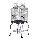 PawHut Large Metal Bird Cage Aviary Budgies Finch Cockatiel Birds Stand Feeding Station Stand w/ Wheels 51L x 51W x 135H cm
