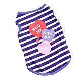 Fashion 3 Candy Heart Stripe Dog Shirt Pet Clothes Cotton Breathable High Quality Casual Cute