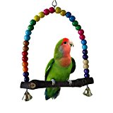 Colorful Wooden Swing Perch Stands for Bird Parrot Budgie Macaw African Greys Parakeet Cockatiel Lovebird Finch Cage Toy (S)