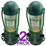 Hanging Plastic Wild Bird Feeder - Bird Feeder with 3 Ports and 3 Perches - Easy to refill - Perfect way to attract hug range of wild birds to garden (Pack of 2)
