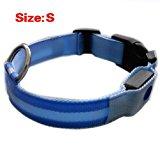 SODIAL(R) New Blue Nylon LED Dog Night Safety Collar Flashing Light up W/circular Pendant Collar Size S: 35-43cm Width: 2.5cm
