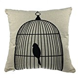 Luxbon-Cotton Linen Throw Pillow Covers Special Design Cushion Cover Trapped in a Cage Bird Printed Pillowcase Home Decorative Case for Sofa, Bed, Car, Garden 18 Inch 45 cm