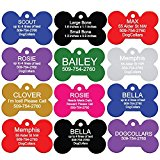 Pet ID Tags - Bone, Round, Heart, and Rectangle. Front and Back Engraving. Various Colors and Sizes. For Dogs and Cats. Anodized Aluminum. by GoTags