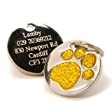 Personalised Engraved 25mm Yellow Glitter Paw Print Dog Pet ID Tag Disc.......TO LEAVE ENGRAVING DETAILS PLEASE READ PRODUCT DESCRIPTION LOWER DOWN THIS PAGE.