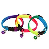 Pet Moon Rainbow Cat Collar, with Snap Clip and Bell Random Colour