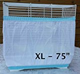 Bird Cage Tidy Seed Catcher Skirt Guard Pile Fabric Double Strap - White - Extra Large