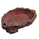 Sourcingmap Resin Pet Reptiles Artificial Carved Water Food Dish Bowl, Brick Red