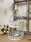 Vintage Style Bird Cage Antique White Shabby Wedding Decoration Card Post Box