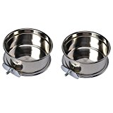 Levpet Pair of Pet Bowls For Cages, Crates or Pens, Pet Dogs Large Birds and Small Animals Feeding Food Water Bowl,Personalised Dog Bowl, 7Inches, Stainless Steel