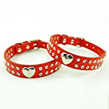 Lesypet Dog Cats Leather Collars Necklaces With Cute Heart and Bling Crystal -M Red