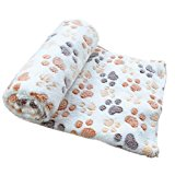 Pet Dog Soft Blanket - Kingwo Warm Pet Mat Small Large Paw Print Cat Dog Puppy Fleece Soft Blanket (L, Beige)
