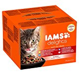 Iams Wet Cat Food Delights Meat and Fish in Gravy, land and Sea Collection 24 x 85 g