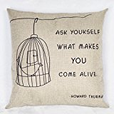Luxbon - Bird In A Birdcage Ask Yourself What Makes You Come Alive Howard Thurman Cotton Linen Sofa Chair Seat Throw Pillow Case Cushion Cover 18 x 18