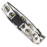 White Batman Cat Collar. Beautiful cat safety collars with bell available in a range colours made in the UK from strong webbing and printed material.