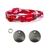 ANCOL Cat Pink Camouflage Quick Release Collar With Engraved 22mm Chrome Cat ID Tag