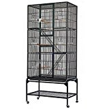 Popamazing 3 Tiers Large Bird Breeding Cage/Aviary for Cockatoo/Parrot/Finch Bird with Perch Stand and Wheels