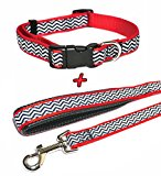 Red Zigzag Collar and Lead Set, Choose Size, (Small Collar & Standard Lead)