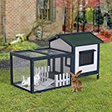 PawHut Wooden Rabbit Hutch Small Pet House Guinea Pig Hen Chicken Coop Poultry Wood Cage Pen w/ Run Fence Ramp