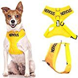 NERVOUS (Give Me Space) Yellow Colour Coded Non-Pull Front and Back D Ring Padded and Waterproof Vest Dog Harness PREVENTS Accidents By Warning Others Of Your Dog In Advance (S)