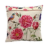 Luxbon - Vintage Rose & Bird Cage Cotton Linen Sofa Chair Seat Throw Pillow Case Cushion Cover 18 x 18