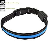 Gopsyc Adjustable Dog safety Collar with Led Lighting - Solar Energy Power & USB Rechargeable - Waterproof Strong Durable Reflective Flashing Light Nylon Dog Leash for Medium Pet Dog Night Safety - Blue