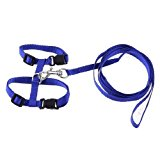 Adjustable Blue Pet Cat Dog Release Buckle Harness Leash 121cm Length