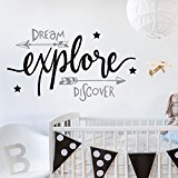 V&C Designs (TM) Dream Explore Discover Beautiful Wall Sticker Wall Quote Lettering Vinyl Decal Mural, Ideal Baby & Toddler Room Decoration Decor, Various Colours Available