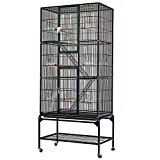 Cravog 69.2'' Large Parrot Bird Macaw Wire Aviary Flight Cage with Stand and Wheel